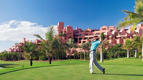 an owner of a canary islands luxury flat enjoying golf